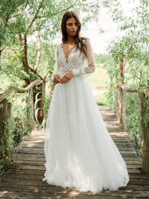 Brautkleid Elizabeth A Linie V Ausschnitt Boho Mit Querläufer Transparent Vintage Langarm Ivory Weiß Tüll Spitze Hochgeschlossen E 4929 01