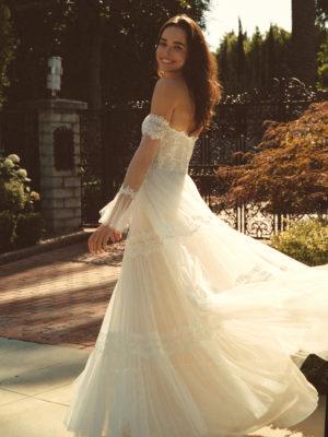 Brautkleid Elizabeth Boho Mit Querläufer Herzausschnitt Tüll Spitze A Linie Trägerlos E 4431 07