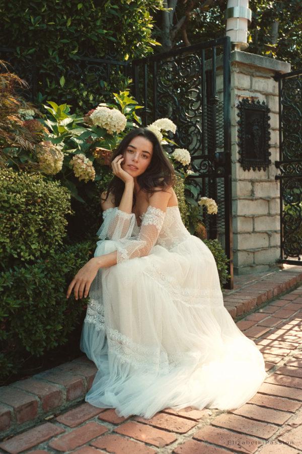 Brautkleid Elizabeth Boho Mit Querläufer Herzausschnitt Tüll Spitze A Linie Trägerlos E 4431 09