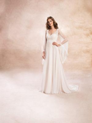Brautkleid Mode De Pol Agnes Baumwollspitze Schlicht Boho Herzausschnitt Chiffon Empire Schulterträger Ka 19124t 01