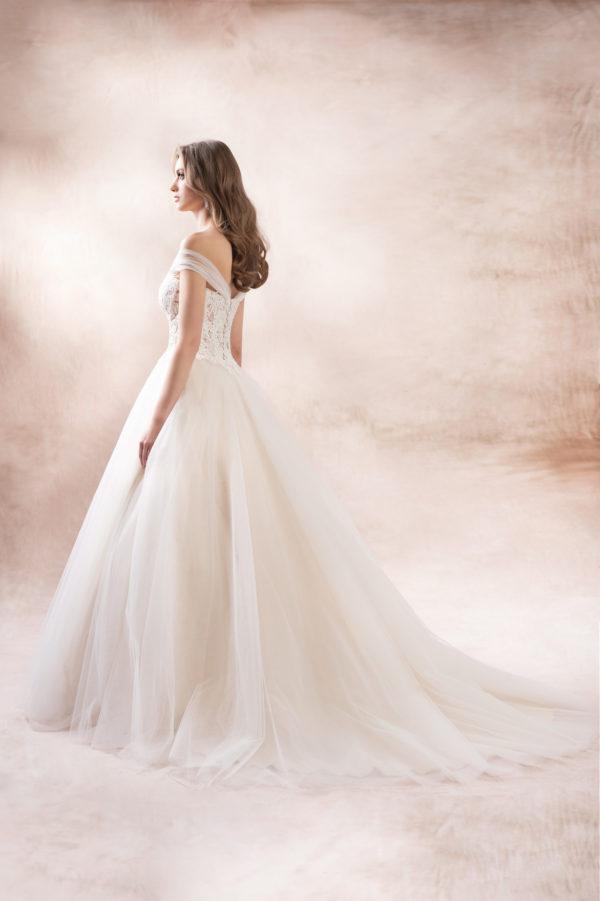 Brautkleid Mode De Pol Agnes Pailletten Transparent Blumendeko Herzausschnitt Tüll Prinzessin A Linie Schulterträger Ka 19132t 02