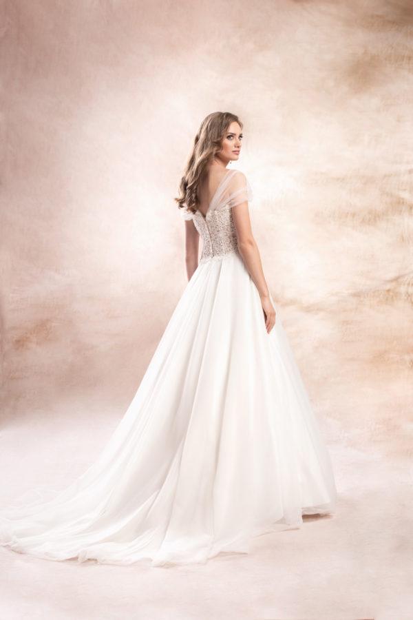 Brautkleid Mode De Pol Agnes Perlen Pailletten Transparent Herzausschnitt Tüll A Linie Schulterträger Ka 19147t 02