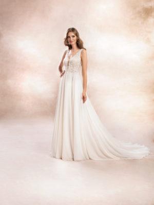 Brautkleid Mode De Pol Agnes Perlen Pailletten Transparent V Ausschnitt Chiffon A Linie Schulterträger Ka 19152 01