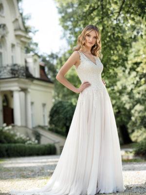 Brautkleid Mode De Pol Agnes Schlicht Herzausschnitt Chiffon A Linie Schulterträger Ka 19092t 01