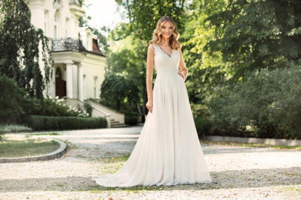 Brautkleid Mode De Pol Agnes Schlicht Herzausschnitt Chiffon A Linie Schulterträger Ka 19092t 04