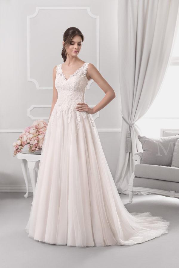 Brautkleid Mode De Pol Agnes Schlicht Herzausschnitt Tüll A Linie Schulterträger Ka 18077t 01