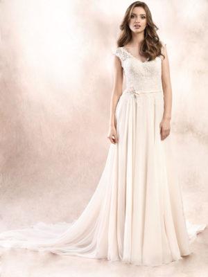Brautkleid Mode De Pol Agnes Strassapplikation Pailletten Gürtel Herzausschnitt Chiffon A Linie Schulterträger Ka 19093t 02
