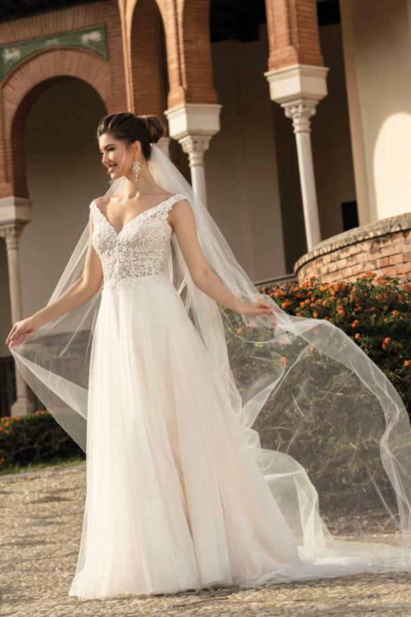 Brautkleid Mode De Pol Agnes Bridal Dream A Linie Tuell Herzausschnitt Glitzertuell Transparent Blumendeko 3d Optik Perlen Ka 20076t 01.jpg