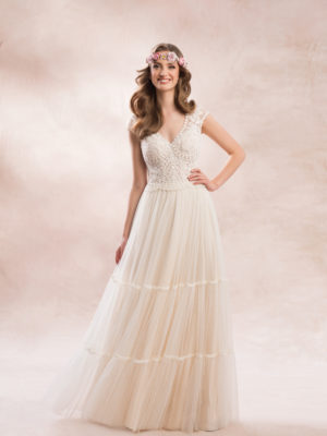 Brautkleid Mode De Pol Agnes Transparent Boho Mit Querläufer Herzausschnitt Tüll Spitze A Linie Schulterträger Ka 19114t 02