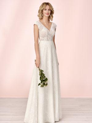 Brautkleid Mode De Pol Elizabeth Allover Spitze Boho Transparent V Ausschnitt Spitze Empire Schulterträger E 4124 01