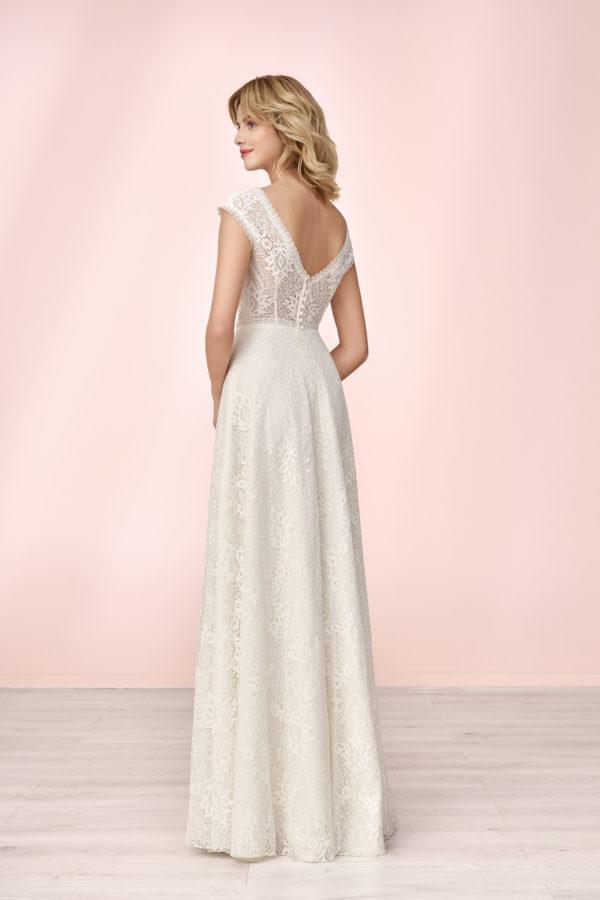 Brautkleid Mode De Pol Elizabeth Allover Spitze Boho Transparent V Ausschnitt Spitze Empire Schulterträger E 4124 02