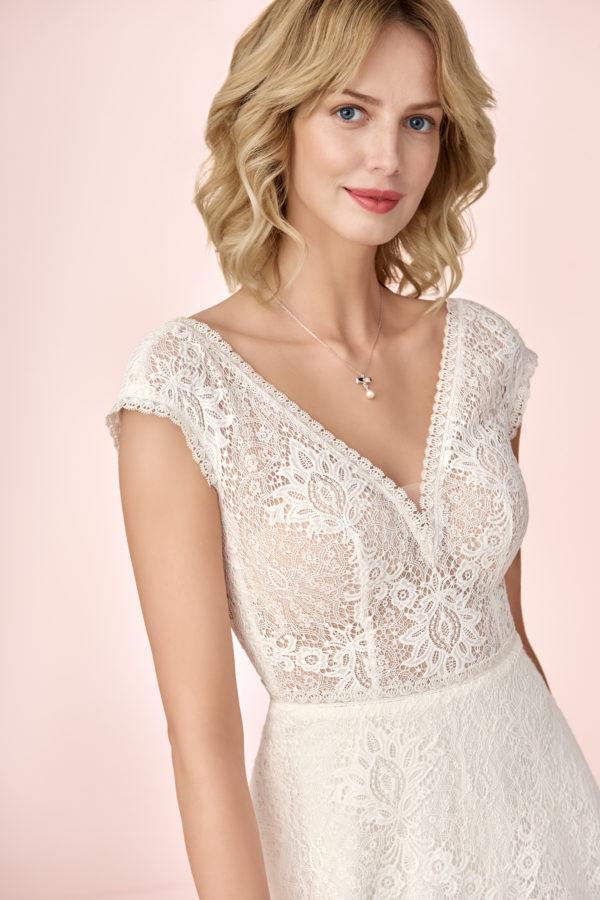 Brautkleid Mode De Pol Elizabeth Allover Spitze Boho Transparent V Ausschnitt Spitze Empire Schulterträger E 4124 03