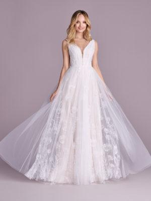Brautkleid Mode De Pol Elizabeth Allover Spitze Pailletten Blumendeko V Ausschnitt Spitze A Linie Schulterträger E 4542t 01