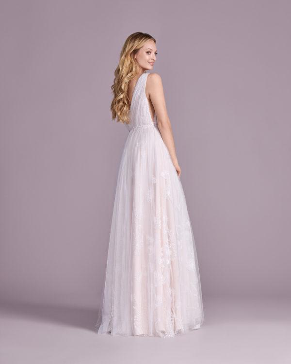Brautkleid Mode De Pol Elizabeth Allover Spitze Pailletten Blumendeko V Ausschnitt Spitze A Linie Schulterträger E 4542t 02