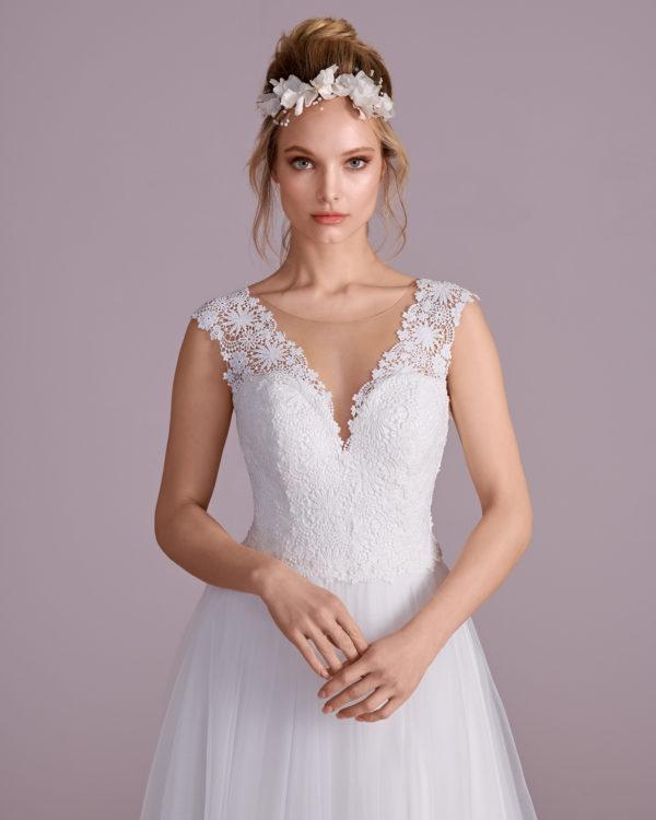 Brautkleid Mode De Pol Elizabeth Baumwollspitze Schnürung Schlicht V Ausschnitt Herzausschnitt Tüll A Linie Schulterträger E 4454t 03