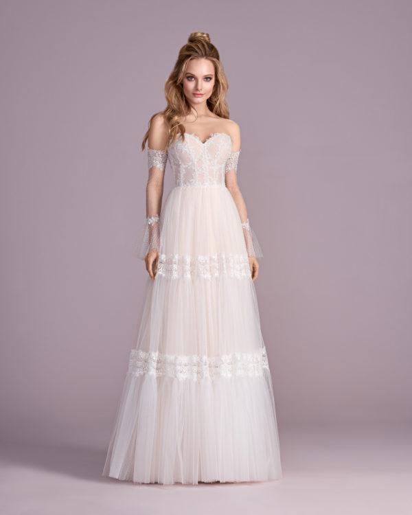 Brautkleid Mode De Pol Elizabeth Boho Mit Querläufer Herzausschnitt Tüll Spitze A Linie Trägerlos E 4431 01