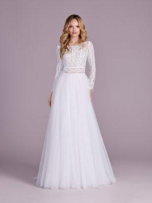 Brautkleid Mode De Pol Elizabeth Boho Transparent Illusionsdekolleté Tüll A Linie E 4504t 01