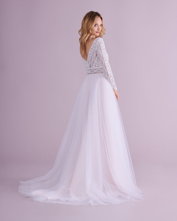 Brautkleid Mode De Pol Elizabeth Boho Transparent Illusionsdekolleté Tüll A Linie E 4504t 02