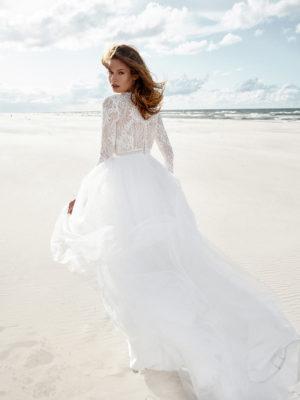 Brautkleid Mode De Pol Elizabeth Boho Transparent Schlicht V Ausschnitt Tüll A Linie E 4424t 02