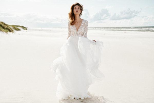 Brautkleid Mode De Pol Elizabeth Boho Transparent Schlicht V Ausschnitt Tüll A Linie E 4424t 03