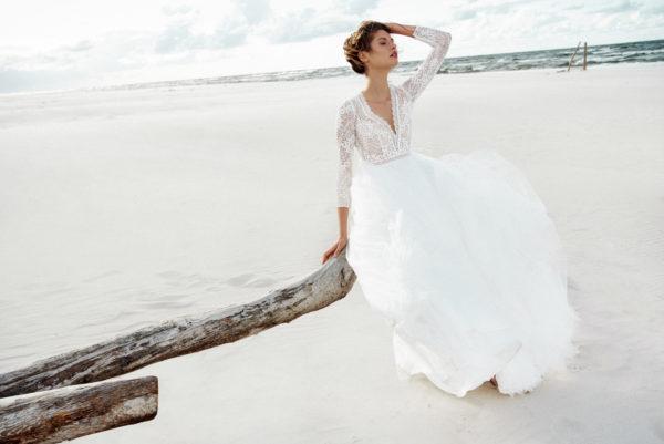 Brautkleid Mode De Pol Elizabeth Boho Transparent Schlicht V Ausschnitt Tüll A Linie E 4424t 04