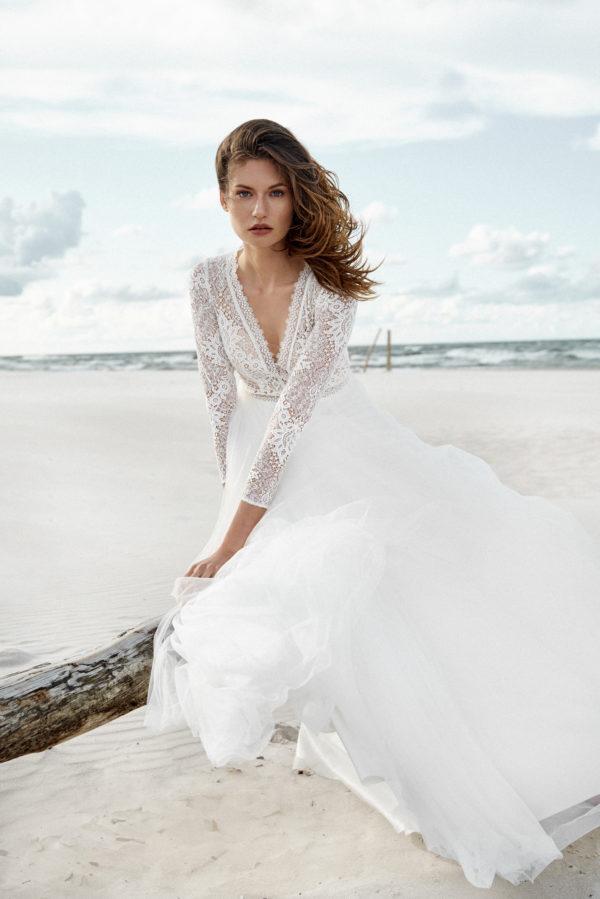 Brautkleid Mode De Pol Elizabeth Boho Transparent Schlicht V Ausschnitt Tüll A Linie E 4424t 05