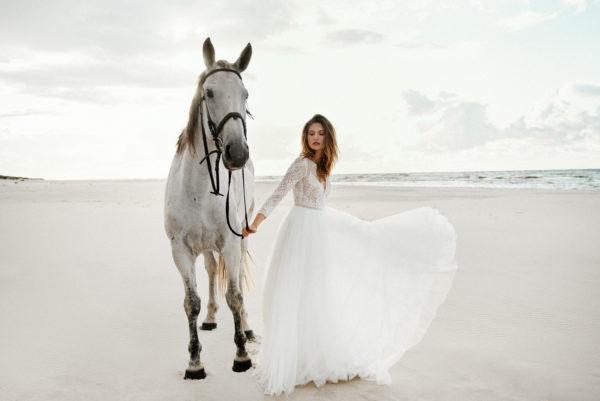 Brautkleid Mode De Pol Elizabeth Boho Transparent Schlicht V Ausschnitt Tüll A Linie E 4424t 08