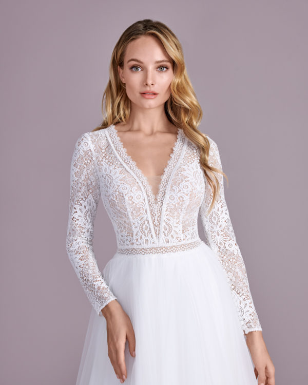 Brautkleid Mode De Pol Elizabeth Boho Transparent Schlicht V Ausschnitt Tüll A Linie E 4424t 11