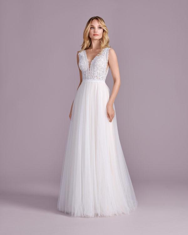 Brautkleid Mode De Pol Elizabeth Boho Transparent V Ausschnitt Tüll A Linie Schulterträger E 4524t 01