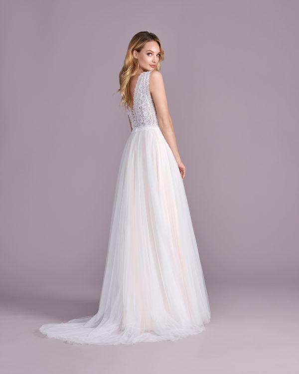 Brautkleid Mode De Pol Elizabeth Boho Transparent V Ausschnitt Tüll A Linie Schulterträger E 4524t 02
