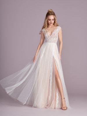 Brautkleid Mode De Pol Elizabeth Boho Transparent Mit Schlitz Mit Querläufer V Ausschnitt Tüll A Linie Schulterträger E 4420 01