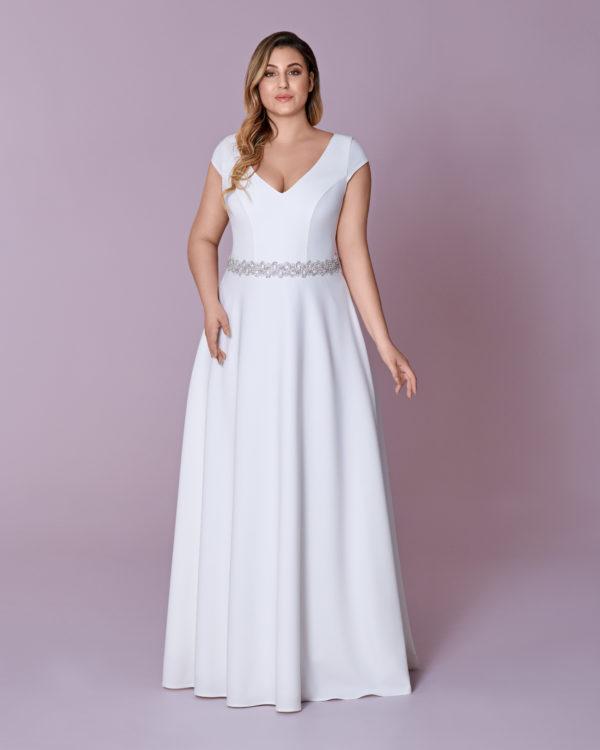 Brautkleid Mode De Pol Elizabeth Curvy Schlicht Strassapplikation Gürtel V Ausschnitt Satin A Linie Schulterträger M 120t 01