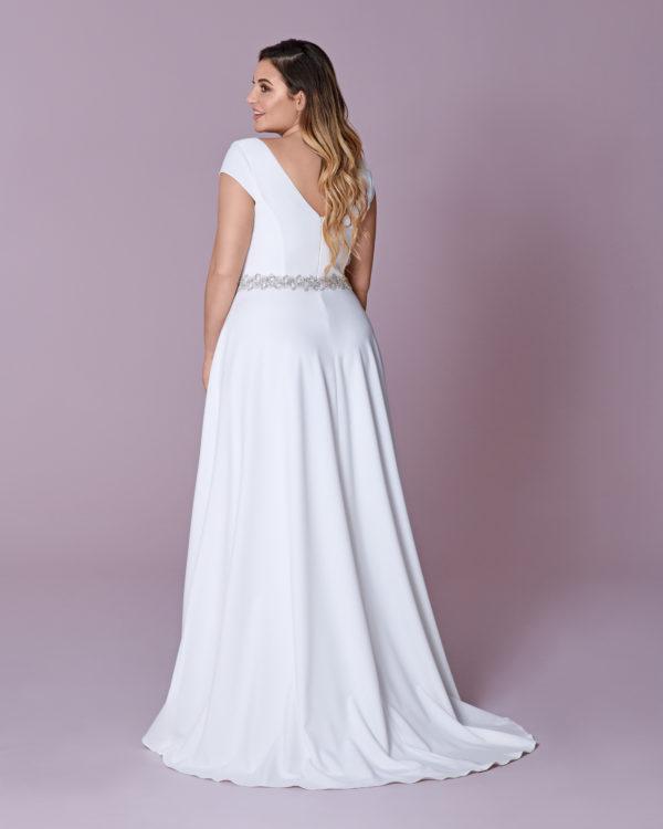 Brautkleid Mode De Pol Elizabeth Curvy Schlicht Strassapplikation Gürtel V Ausschnitt Satin A Linie Schulterträger M 120t 02