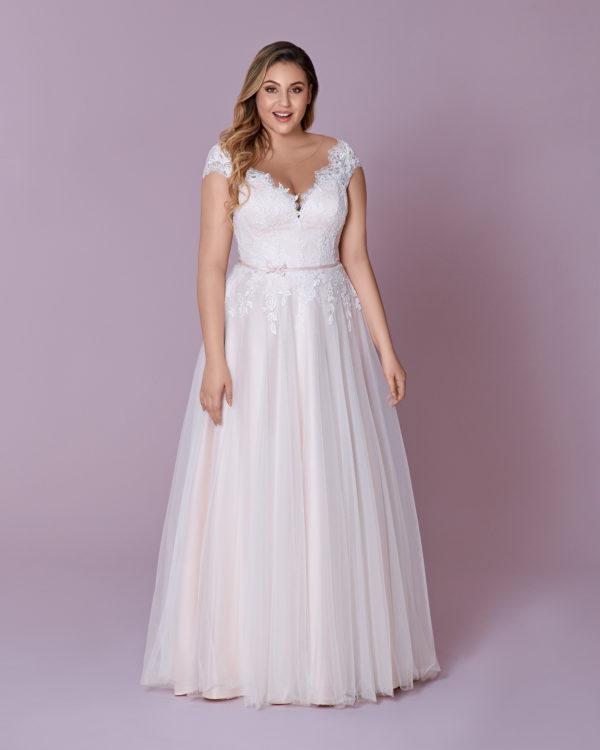 Brautkleid Mode De Pol Elizabeth Curvy Strassapplikation Gürtel Herzausschnitt Tüll A Linie Schulterträger M 139t 01