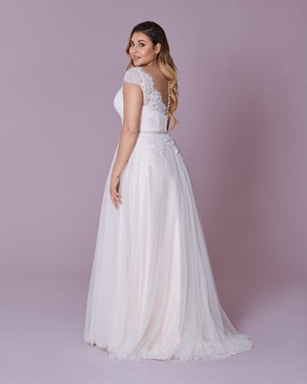 Brautkleid Mode De Pol Elizabeth Curvy Strassapplikation Gürtel Herzausschnitt Tüll A Linie Schulterträger M 139t 02