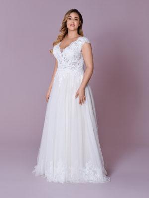 Brautkleid Mode De Pol Elizabeth Curvy Transparent Rocksaum Herzausschnitt Tüll A Linie Schulterträger M 146t 01