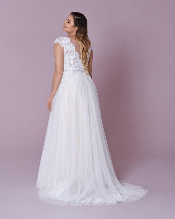 Brautkleid Mode De Pol Elizabeth Curvy Transparent Rocksaum Herzausschnitt Tüll A Linie Schulterträger M 146t 02
