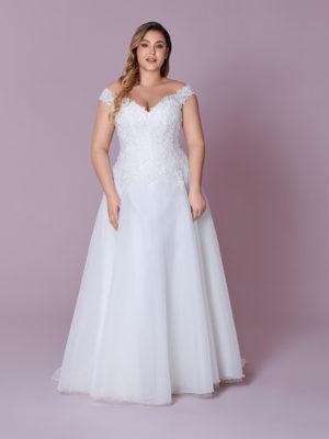 Brautkleid Mode De Pol Elizabeth Glitzertüll Curvy Pailletten Perlen Herzausschnitt Organza A Linie Prinzessin Schulterträger M 128t 01