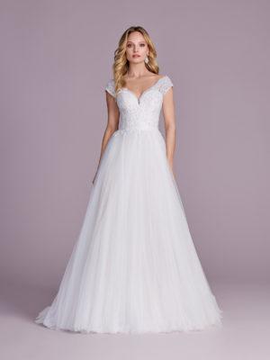 Brautkleid Mode De Pol Elizabeth Glitzertüll Perlen Pailletten Herzausschnitt Tüll Prinzessin Schulterträger E 4475t 01