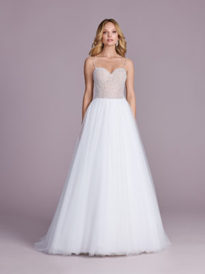 Brautkleid Mode De Pol Elizabeth Glitzertüll Perlen Pailletten Transparent Herzausschnitt Tüll A Linie Schulterträger E 4543t 01