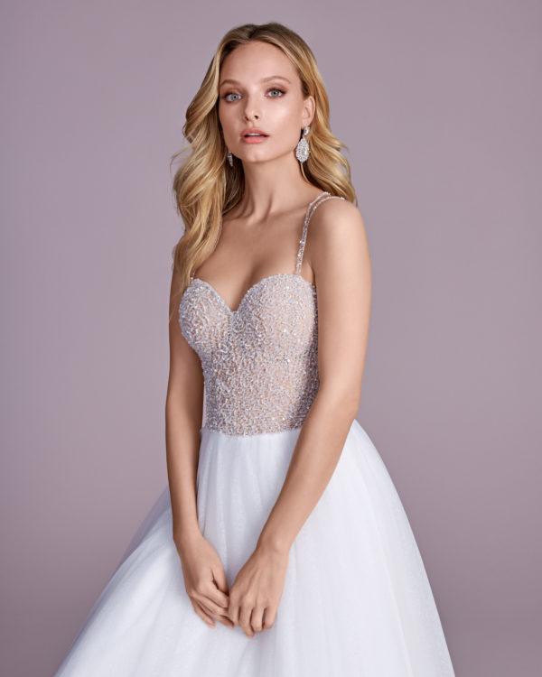 Brautkleid Mode De Pol Elizabeth Glitzertüll Perlen Pailletten Transparent Herzausschnitt Tüll A Linie Schulterträger E 4543t 03