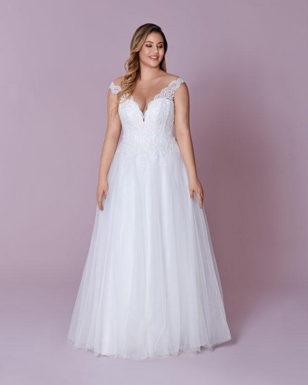 Brautkleid Mode De Pol Elizabeth Glitzertüll Schnürung Curvy Perlen Pailletten Herzausschnitt Tüll A Linie Schulterträger M 137t 01
