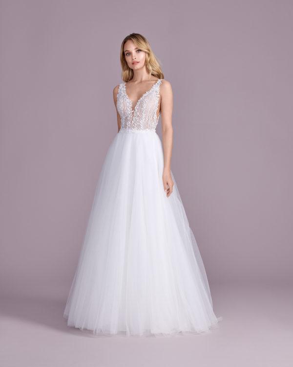 Brautkleid Mode De Pol Elizabeth Glitzertüll Transparent 3d Optik V Ausschnitt Tüll A Linie Prinzessin Schulterträger E 4466t 01