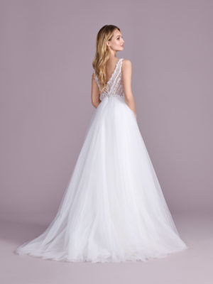 Brautkleid Mode De Pol Elizabeth Glitzertüll Transparent 3d Optik V Ausschnitt Tüll A Linie Prinzessin Schulterträger E 4466t 02