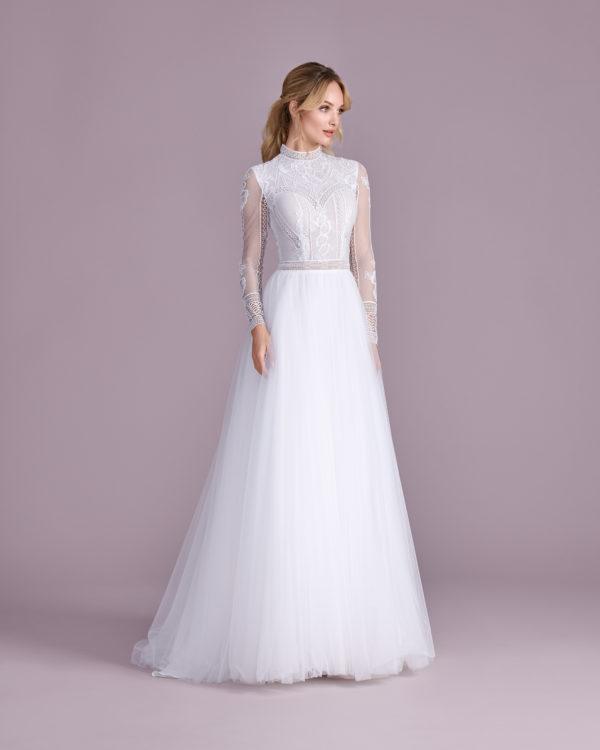 Brautkleid Mode De Pol Elizabeth Illusionsdekolleté Transparent Illusionsdekolleté Tüll A Linie E 4496t 01