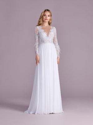 Brautkleid Mode De Pol Elizabeth Marabufedern Perlen Pailletten Transparent V Ausschnitt Chiffon Empire E 4470t 01