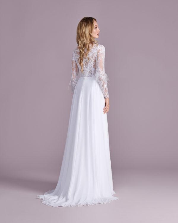 Brautkleid Mode De Pol Elizabeth Marabufedern Perlen Pailletten Transparent V Ausschnitt Chiffon Empire E 4470t 02