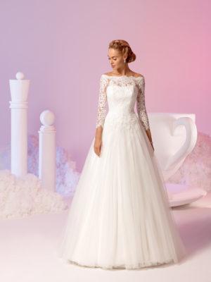 Brautkleid Mode De Pol Elizabeth Pailletten Perlen Boot Ausschnitt Tüll Organza A Linie Carmen E 3653t 01