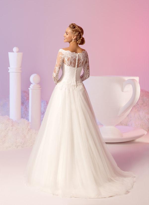 Brautkleid Mode De Pol Elizabeth Pailletten Perlen Boot Ausschnitt Tüll Organza A Linie Carmen E 3653t 02