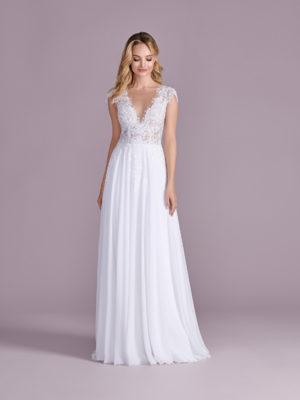 Brautkleid Mode De Pol Elizabeth Pailletten Perlen Transparent V Ausschnitt Chiffon Empire Schulterträger E 4492t 01